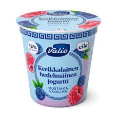 Kreikkalainen hedelmäinen jogurtti mustikka-vadelma