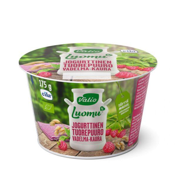 Luomu jogurttinen tuorepuuro vadelma-kaura laktoositon