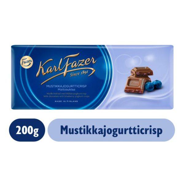 Karl Fazer Mustikkajogurtticrispejä ja maitosuklaata 190g
